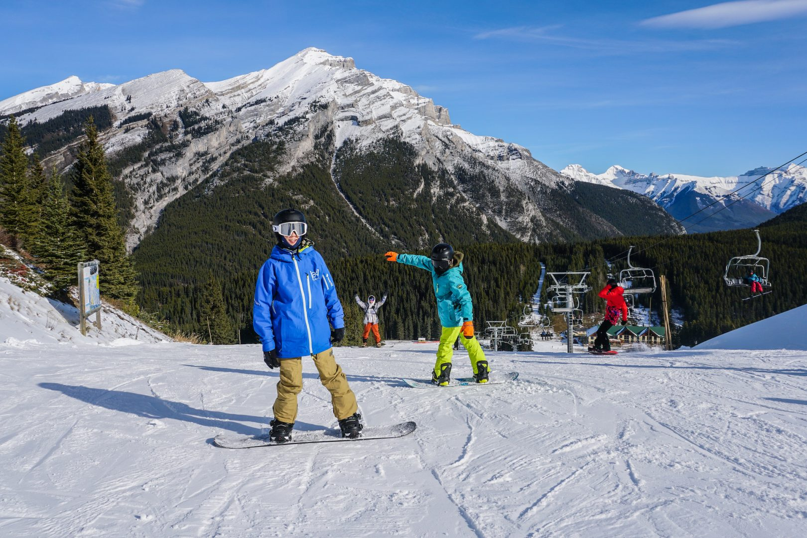 Boys snowboarding at Mt. Norquay, Banff National Park.