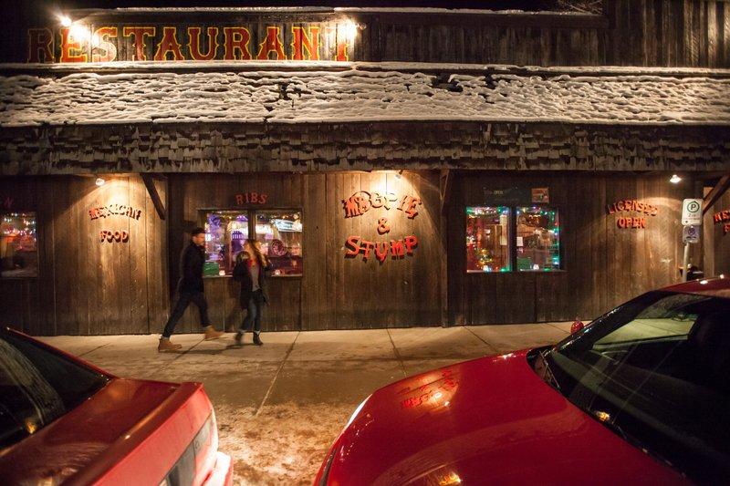 Exterior shot of Magpie & Stump restaurant in Banff, Alberta.