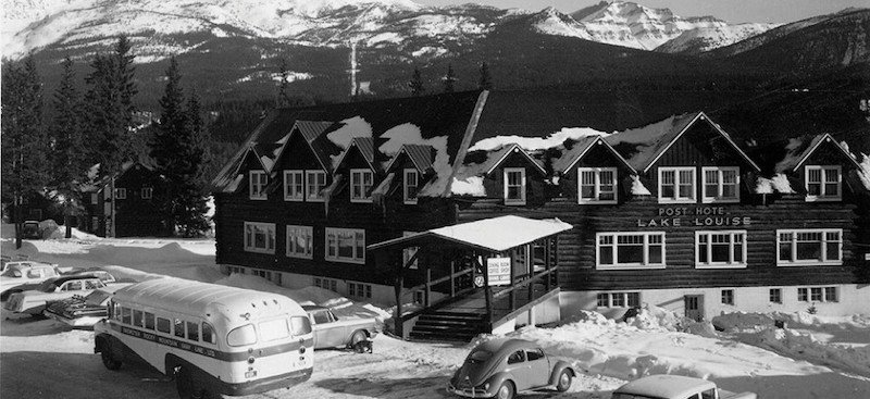 Historic image of the Post Hotel exterior, Banff National Park.