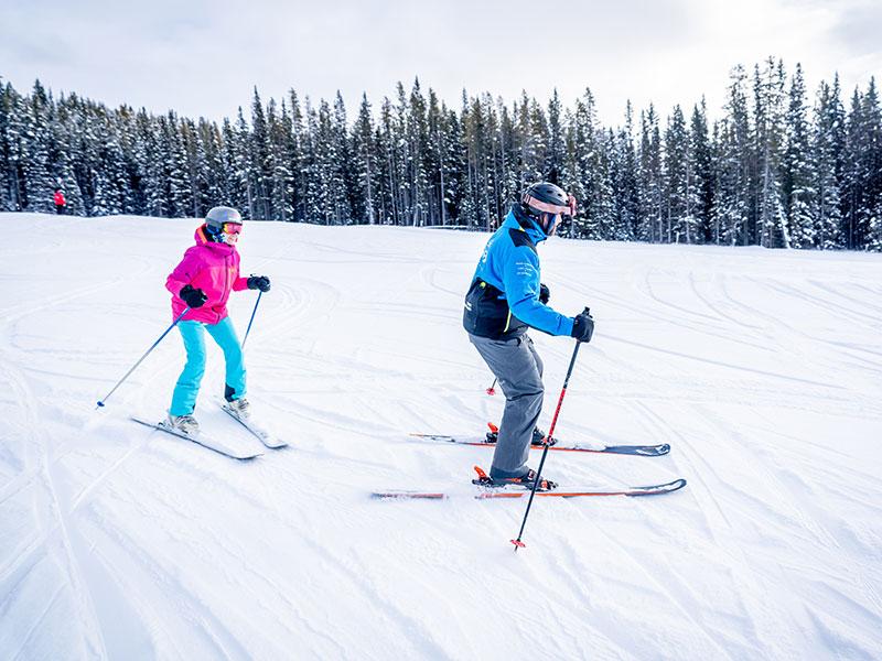 SkiBig3 Snow School at Lake Louise Ski Resort in Banff National Park.