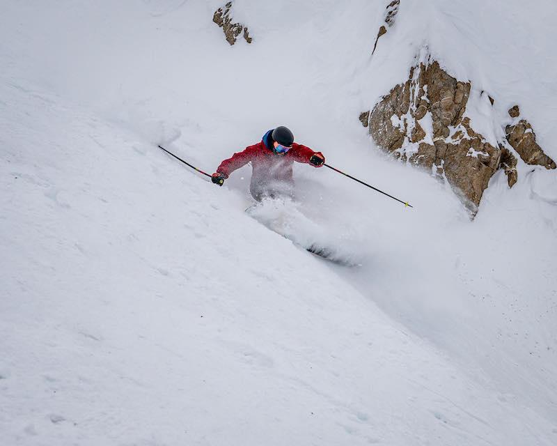 Skier Eli Panning-Osendarp in ER7 at Lake Louise Ski Resort. Photo by Travis Rousseau.