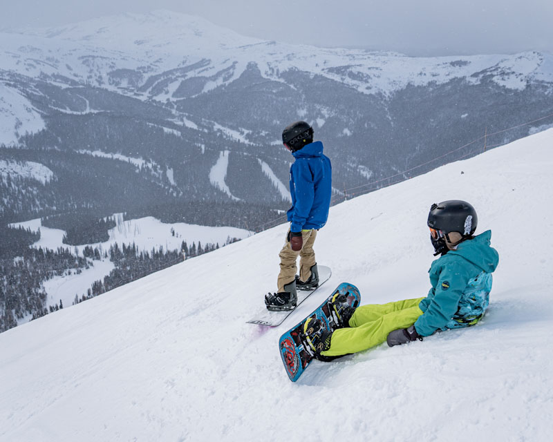 Kids snowboarding at Banff Sunshine Village, Banff National Park.