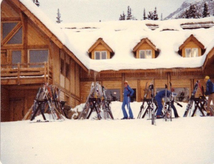 Historic photo of Temple Lodge at Lake Louise Ski Resort.