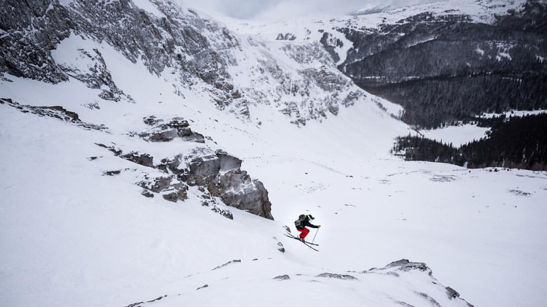 Skier in Delirium Dive. Photo by Will Lambert.