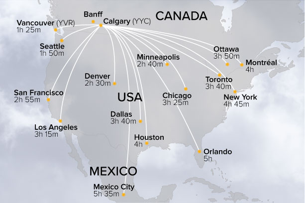USA to Calgary Flight Map