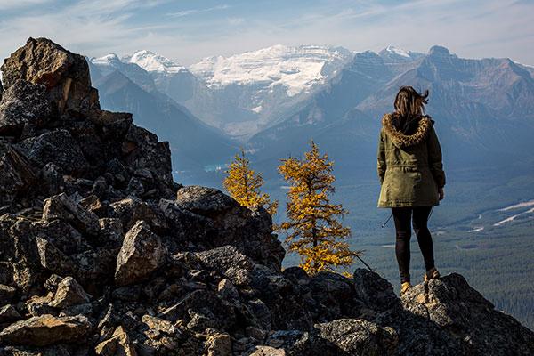 Girl hiking at Lake Louise, Banff National Park.