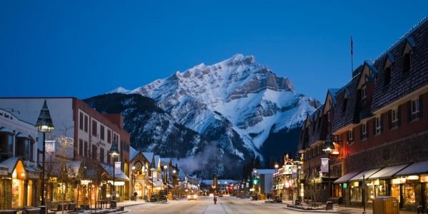 Banff Avenue at Night in the winter