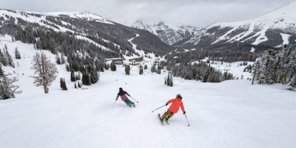 Two skiers at Banff Sunshine Village