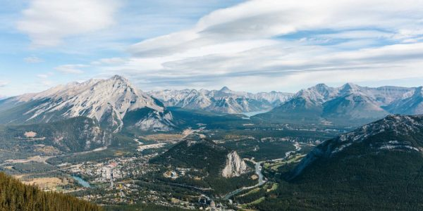 View of Banff townsite from Sulphur Mountain in Banff National Park.